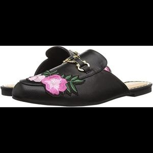 Flat Slip on Fashion Mule, Black with Rose Details